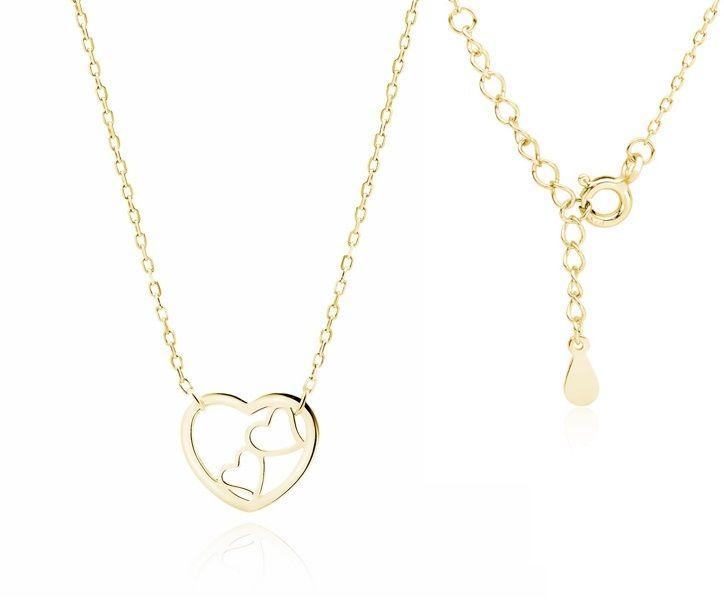 Delikatny pozłacany srebrny naszyjnik gwiazd celebrytka serca serduszka heart srebro 925 Z1820NG