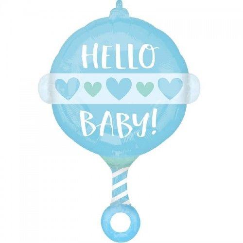 Balon foliowy Grzechotka Hello Baby, niebieski