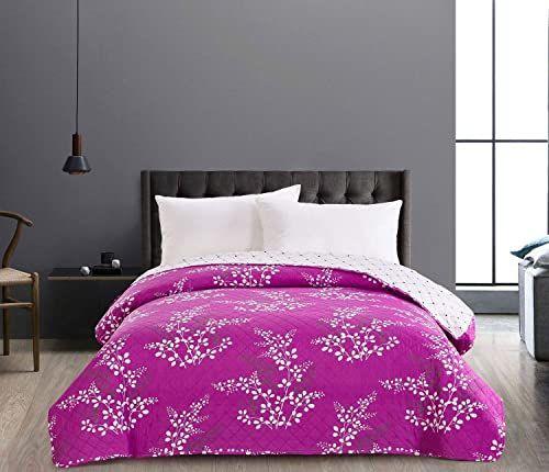 DecoKing 86872 Dwustronna narzuta na łóżko 220 x 240 cm fioletowy liliowy kremowy ecru łatwa w pielęgnacji kwiatowy wzór Hypnosis Calluna