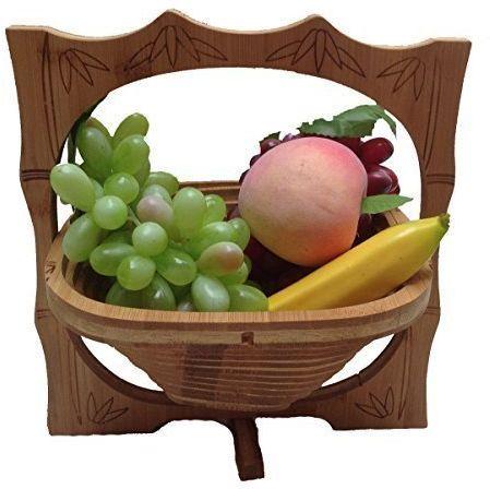 GMMH Bambusowy koszyk na owoce, miska dekoracyjna, miska na owoce, drewno 8 składanych