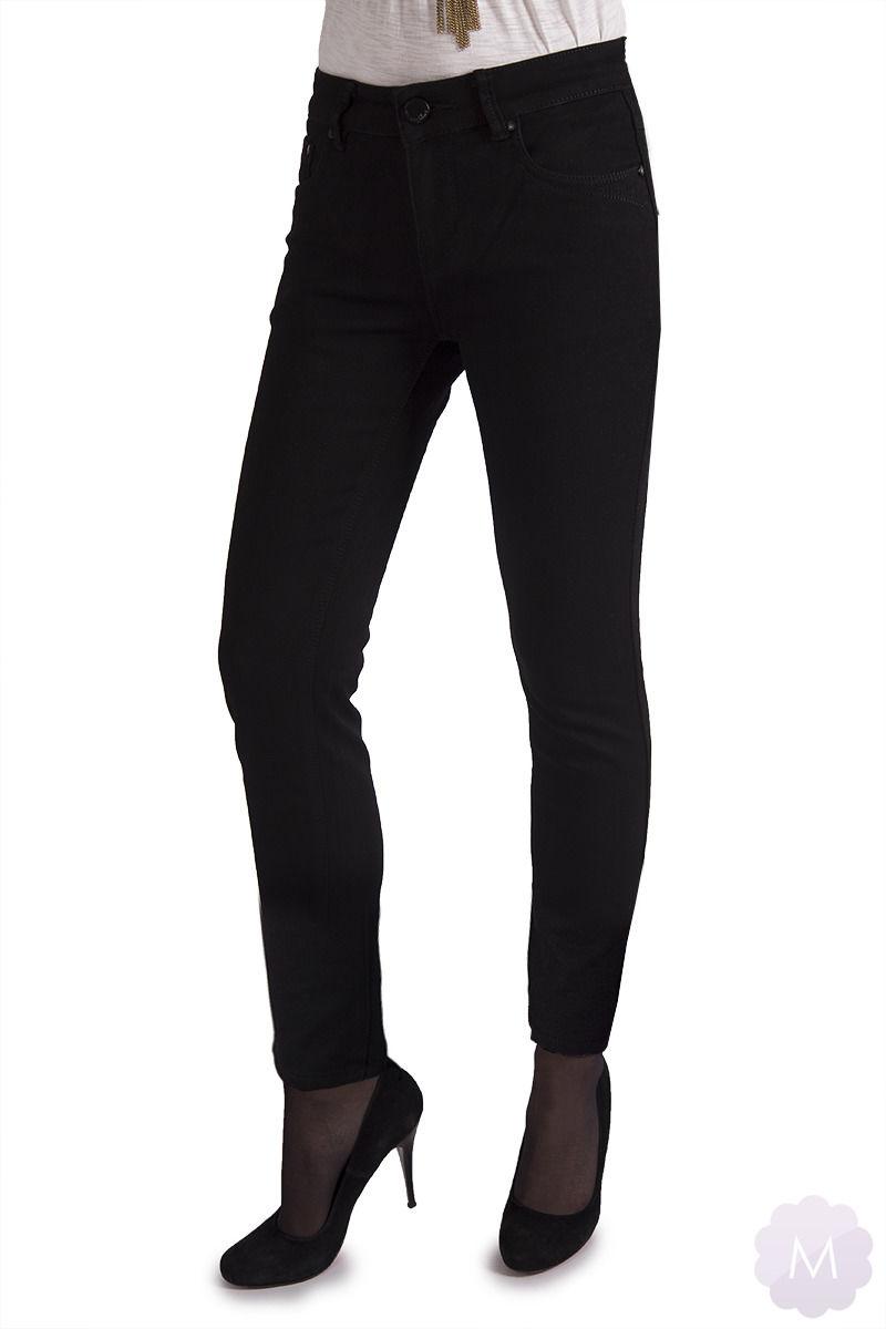 Spodnie ocieplane czarne jeansowe z wyższym stanem (A53-2-B)