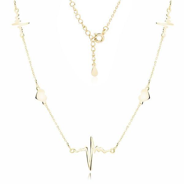 Delikatny pozłacany srebrny naszyjnik gwiazd choker celebrytka serca linia życia tętno puls srebro 925 Z1821NG