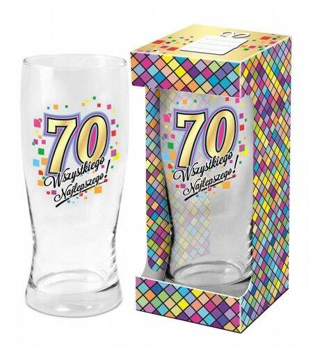Szklanka do piwa na 70 urodziny Wszystkiego Najlepszego