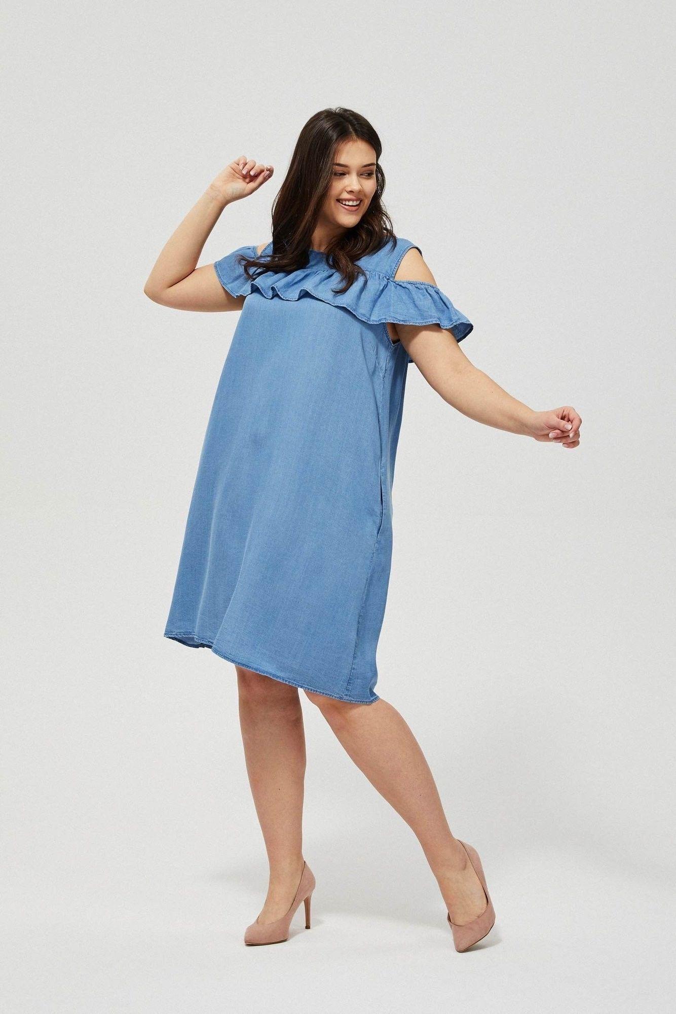 Sukienka lyocell z falbaną