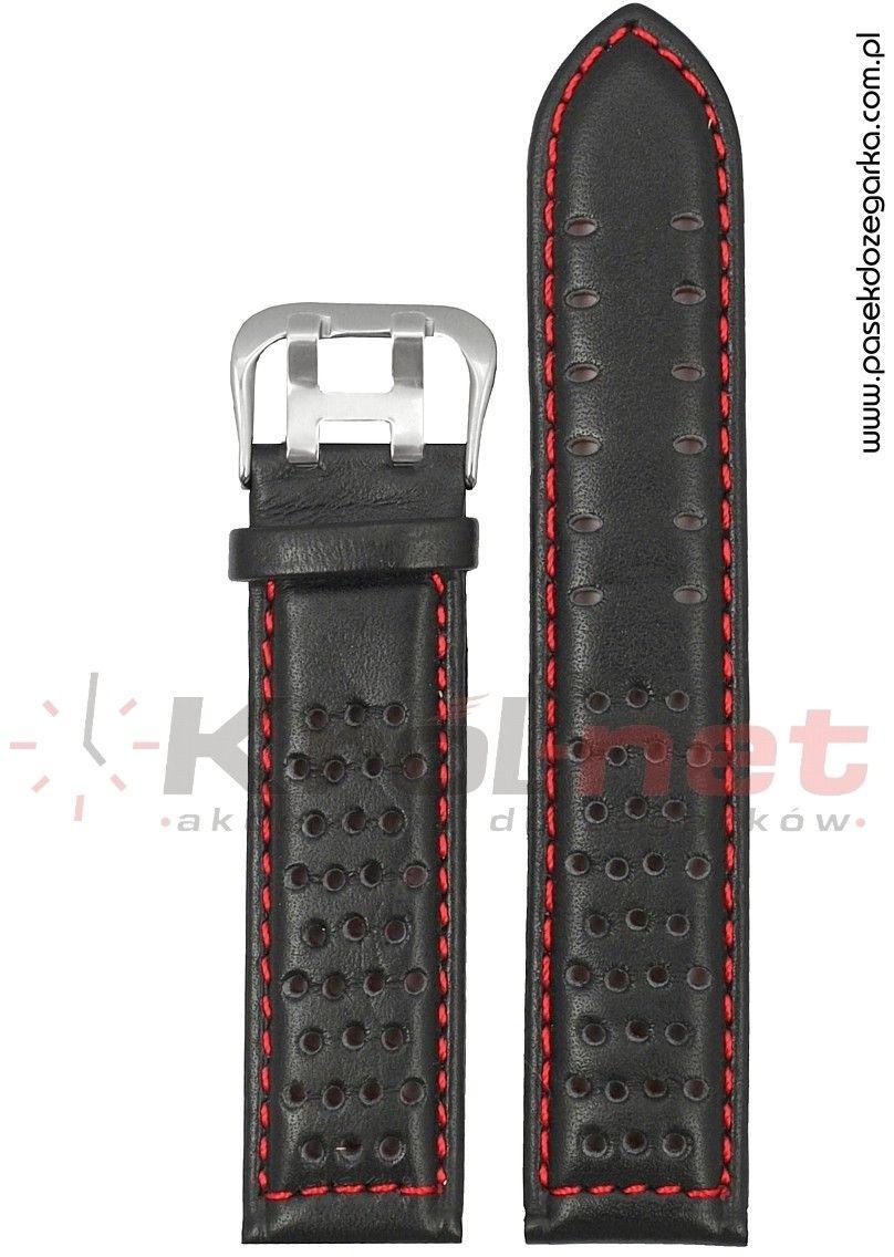 Pasek 380/1/6/24 - czarny, czerwone nici