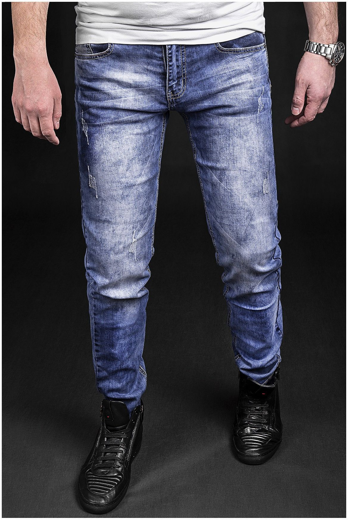 Spodnie jeansowe męskie - niebieskie 2053