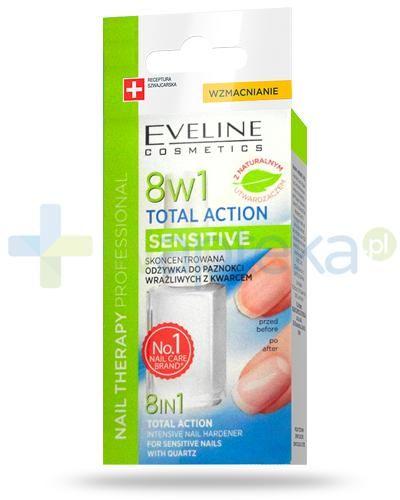 Eveline Nail Therapy Total Action Sensitive 8w1 skoncentrowana odżywka z kwarcem do paznokci wrażliwych 12 ml