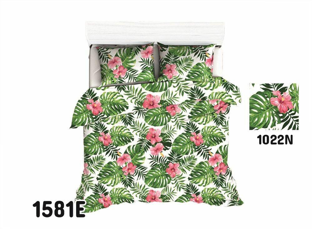 Pościel bawełniana 160x200 1581E biała liście zielone palmy kolorowe kwiaty 1022N