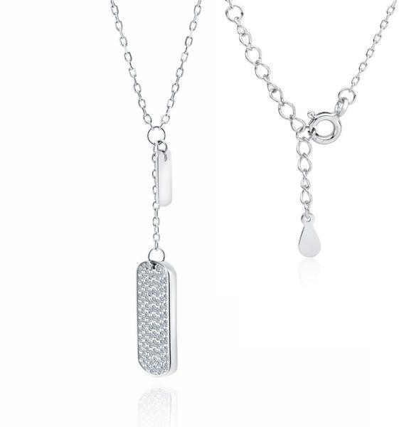 Rodowany srebrny naszyjnik gwiazd celebrytka nieśmiertelnik białe cyrkonie srebro 925 Z1847NR_W
