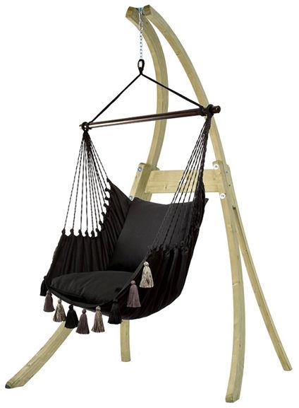 Zestaw hamakowy: fotel AHC-10 ze stojakiem drewnianym Atlas, czarny AHC-10-AT