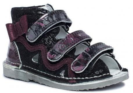 BARTEK 11686-V053 kapcie / sandały profilaktyczne dziewczęce - czarny - fiolet