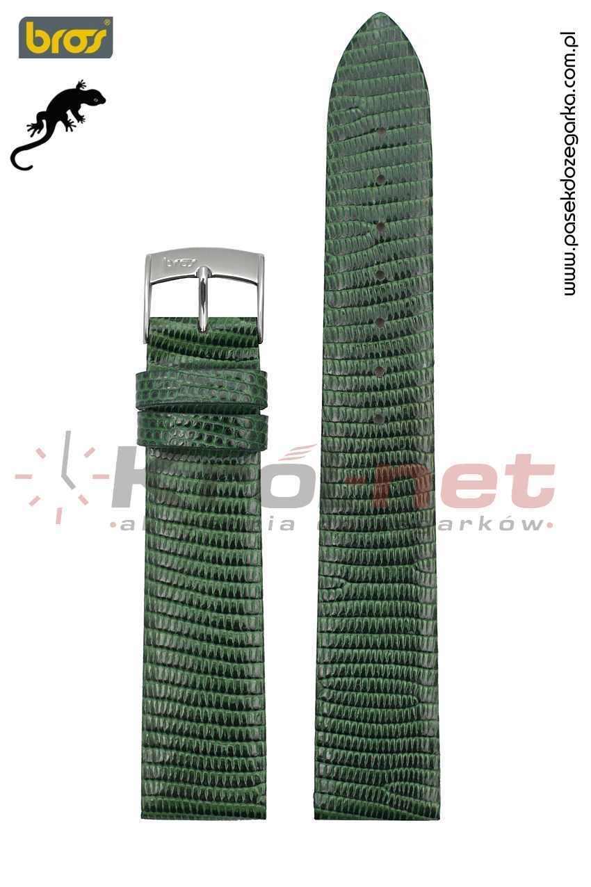 Pasek do zegarka Bros 8231/70/16 - jaszczurka, ciemna zieleń