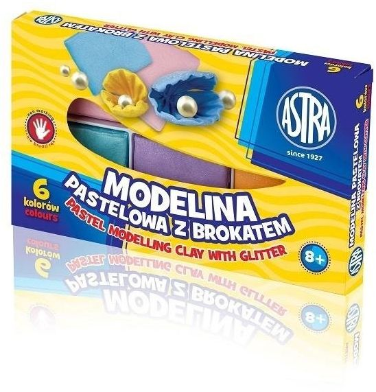Modelina 6 kolorów pastelowa z brokatem ASTRA - ASTRA papiernicze