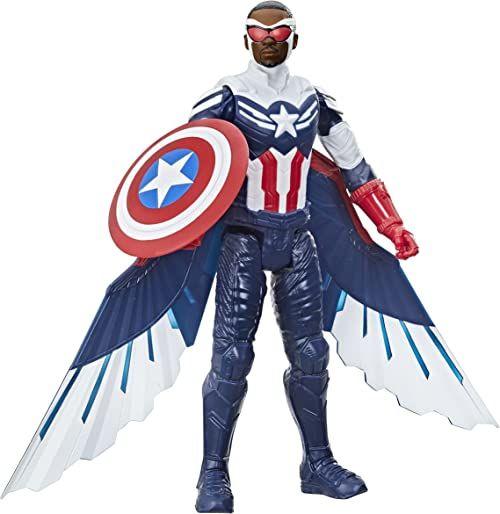 Figurka Kapitana Ameryki z serii Marvel Studios Avengers Titan Hero, zabawka w skali 30 cm, zawiera skrzydła, dla dzieci w wieku od 4 lat