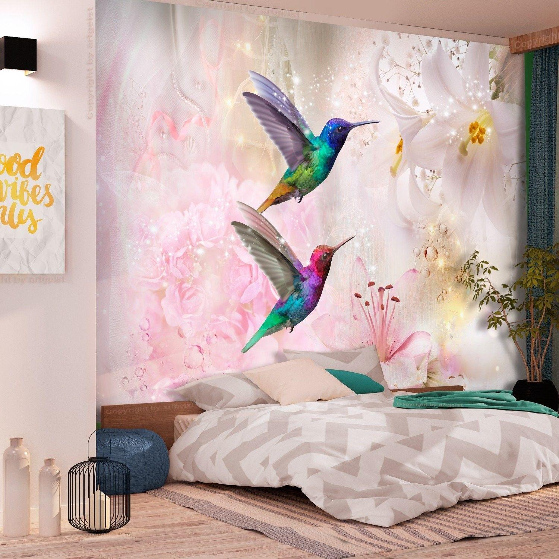 Fototapeta - kolorowe kolibry (różowy)