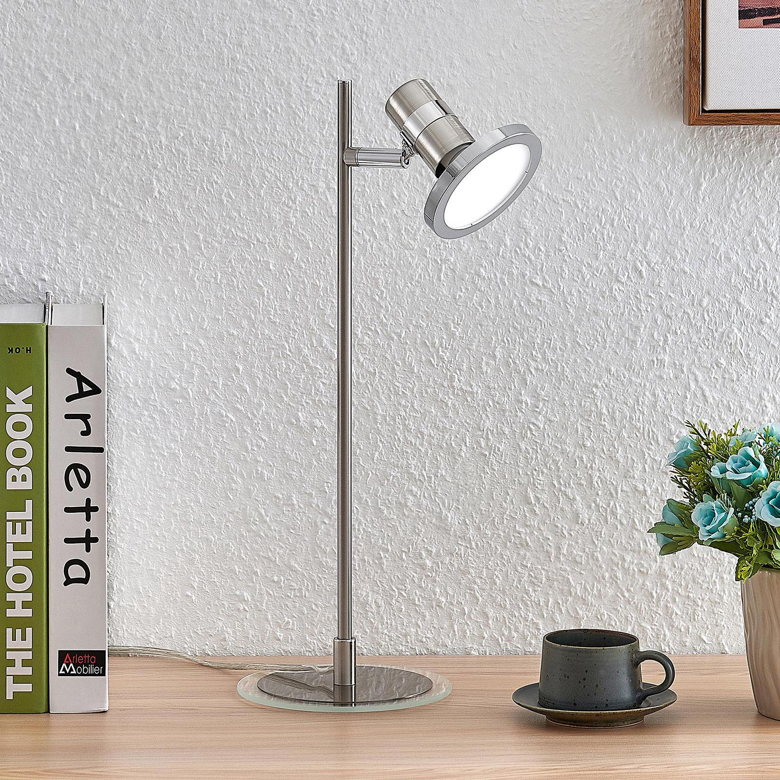 Lindby Kajetan lampa stołowa LED nikiel 1-punktowa