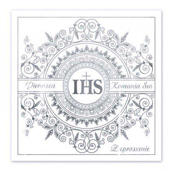 Zaproszenia na Komunię IHS srebrny nadruk + koperty 10 sztuk ZP2002-10x