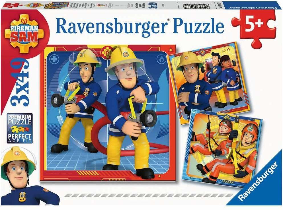 Ravensburger Puzzle 5077 Strażak Sam Na Ratunek! 3X49 Elementów Puzzle Dla Dzieci (5077) Unikalne Elementy, Technologia Softclick - Klocki Pasują Idealnie