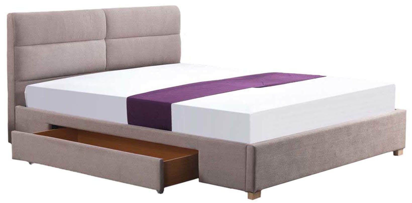 Łóżko Merida 160x200 - beżowy, do sypialni, do spania, tapicerowany zagłówek, szuflada