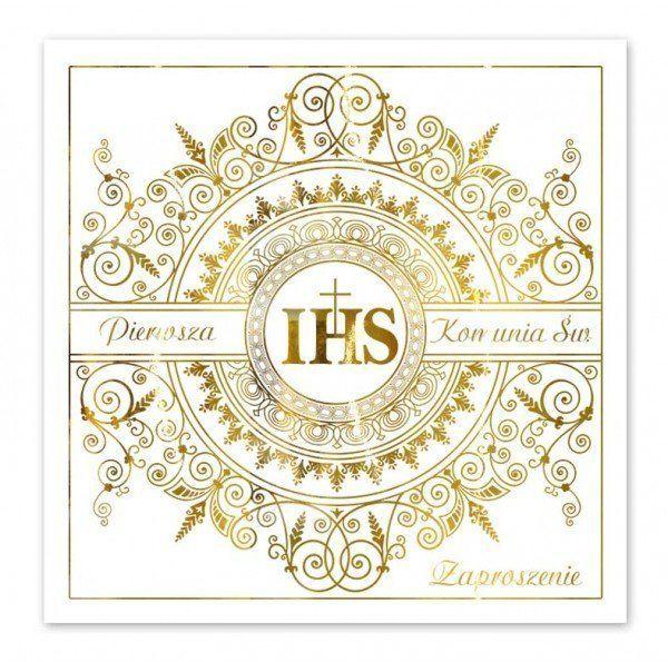 Zaproszenia na Komunię IHS złoty nadruk + koperty 10 sztuk ZP2001-10x