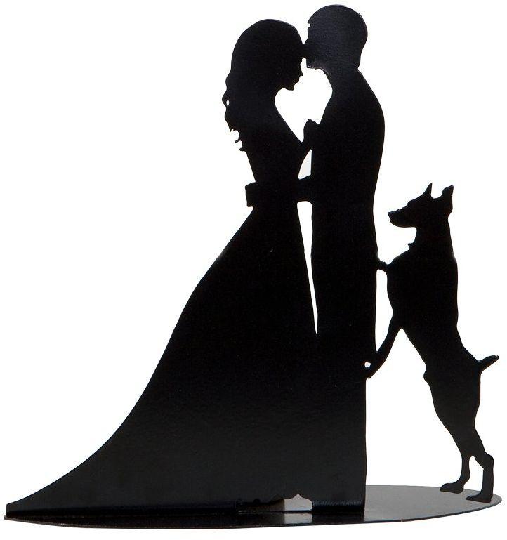 mopec die Freunde figurka z psem, metalowa, czarna, 7 x 19 x 18 cm