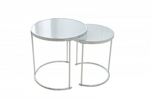 Zestaw stolików ART DECO chrom