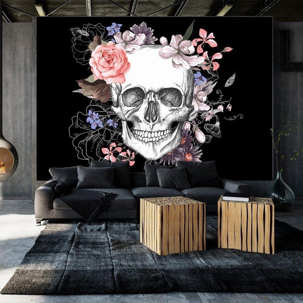 Fototapeta - czaszka i kwiaty