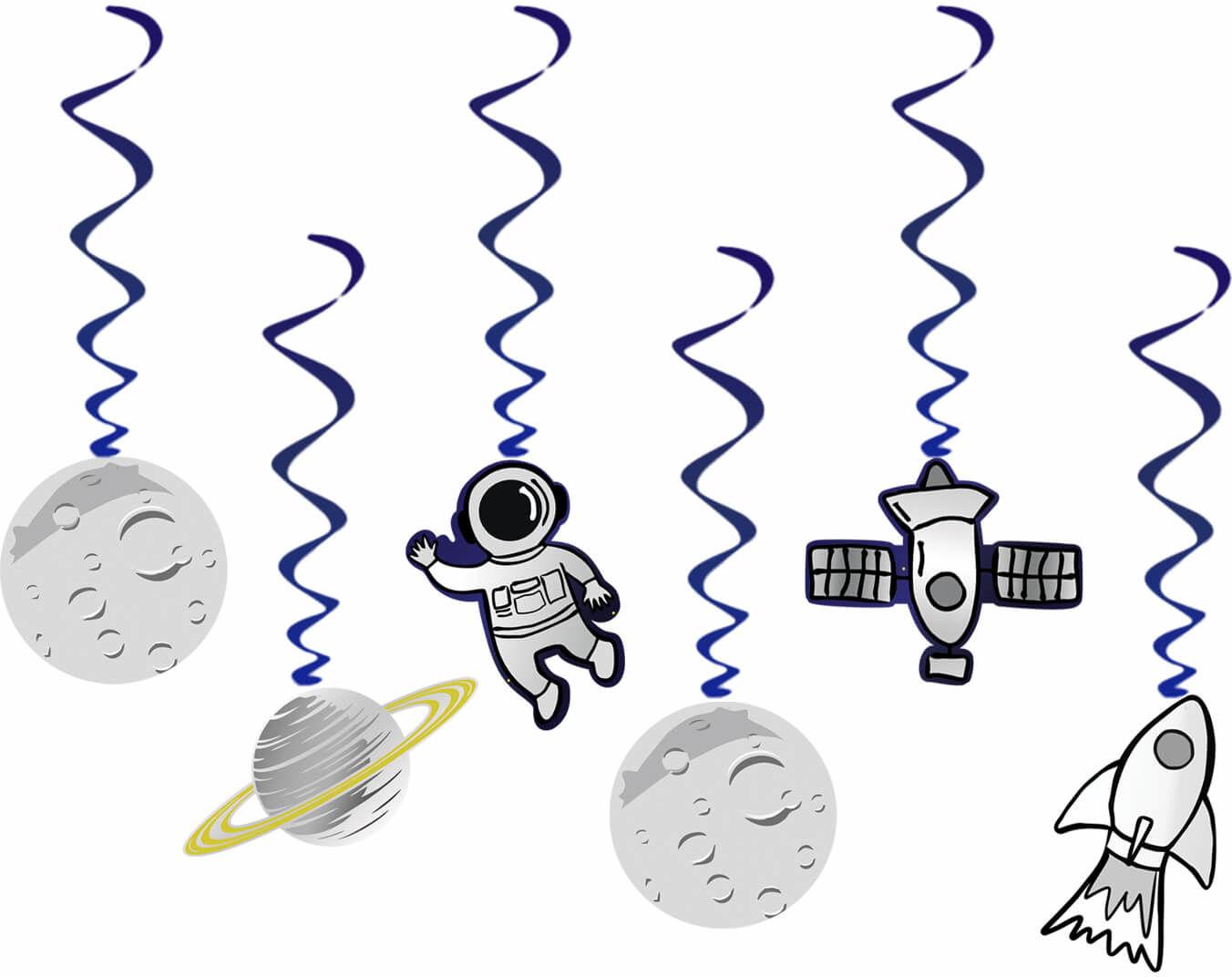 Dekoracja wisząca urodzinowa Kosmos - 6 szt.