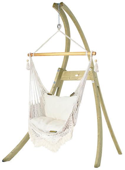 Zestaw hamakowy: fotel AHC-8 LUX ze stojakiem drewnianym Atlas, ecru AHC-8-LUX-AT