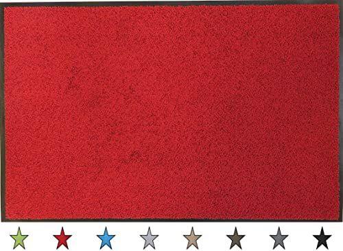 """oKu-Tex Wycieraczka mata zatrzymująca brud """"Eco-Clean"""" czerwona guma z recyklingu do wnętrz obszar wejściowy / drzwi wejściowe / klatka schodowa / korytarz antypoślizgowa 60 x 90 cm"""