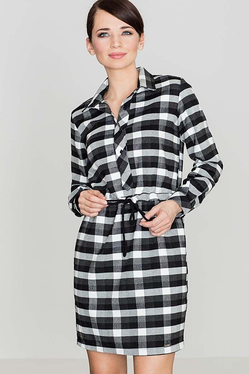 Czarno&biała sukienka typu szmizjerka w kratę z długim rękawem