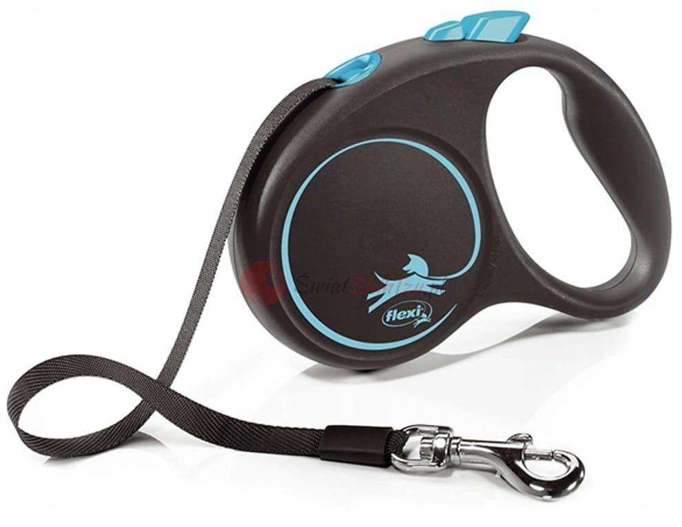 Flexi smycz Black Design taśma S 5m niebieska