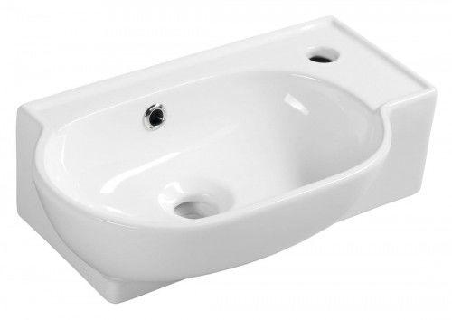 Mała umywalka ceramiczna 45x28 cm prawa do zawieszenie/do postawienia , biała