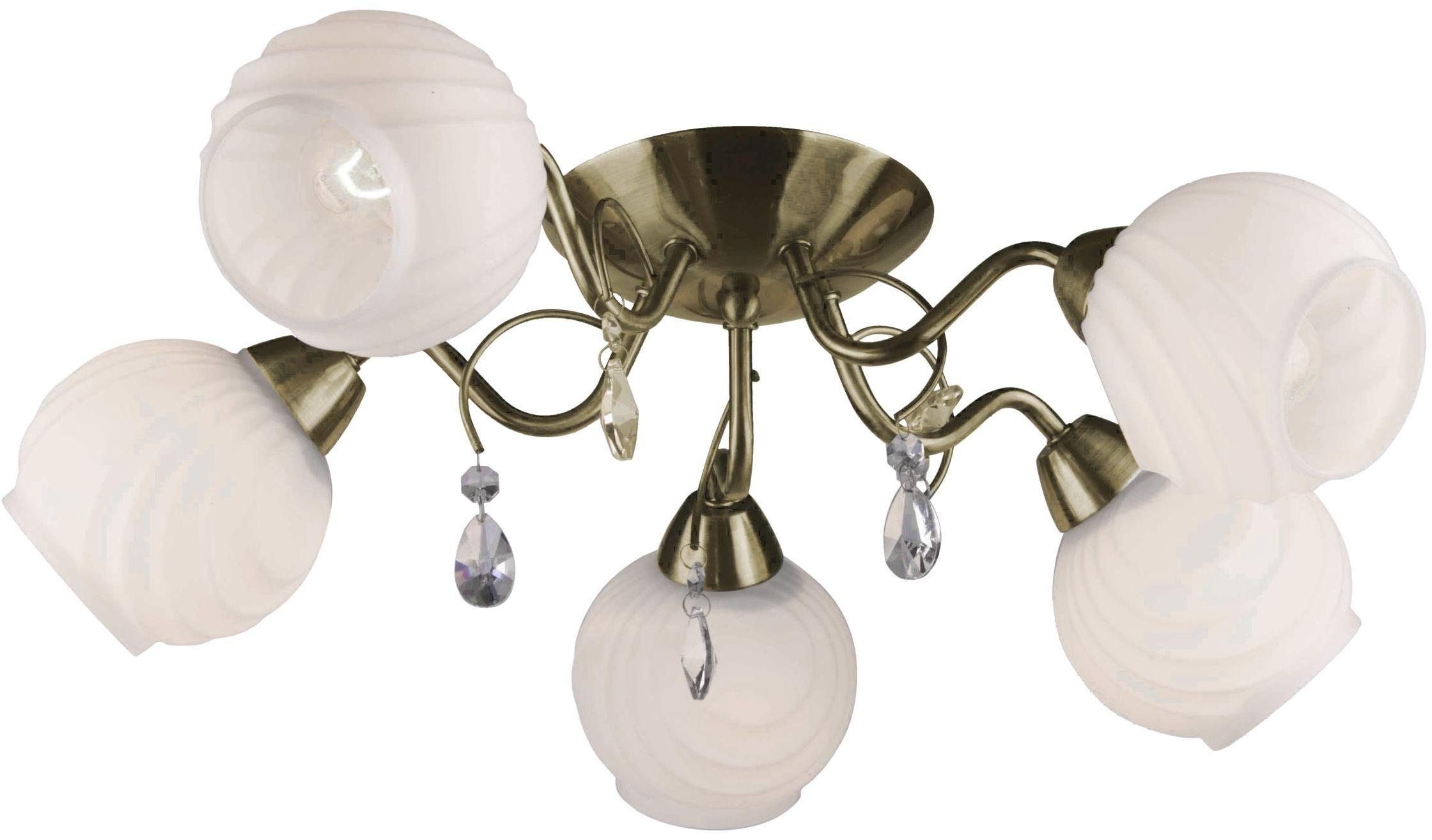 Lampex Ida 5 581/5 plafon lampa sufitowa klasyczny szklane klosze osadzone na srebrnej oprawie E27 5x40W 62cm