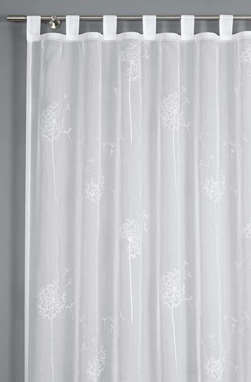 GARDINIA Zasłona z wszytymi pętlami, transparentna, woal, naturalny, 140 x 245 cm