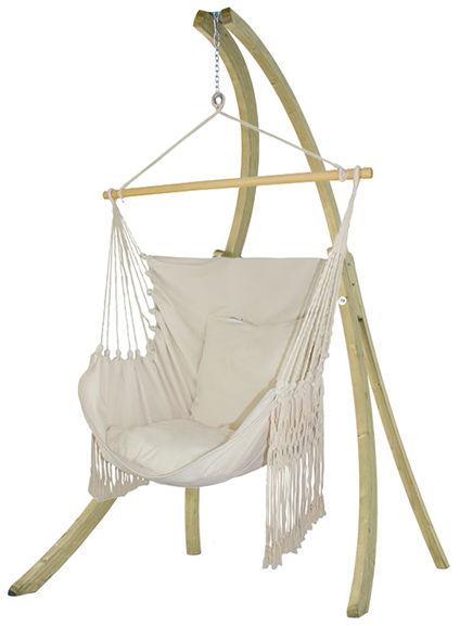 Zestaw hamakowy: fotel HCXL-C ze stojakiem drewnianym Atlas, ecru HCXL-C-AT