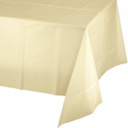 Creative Party PC01489 kość słoniowa prostokątny plastikowy obrus na stół-1 szt
