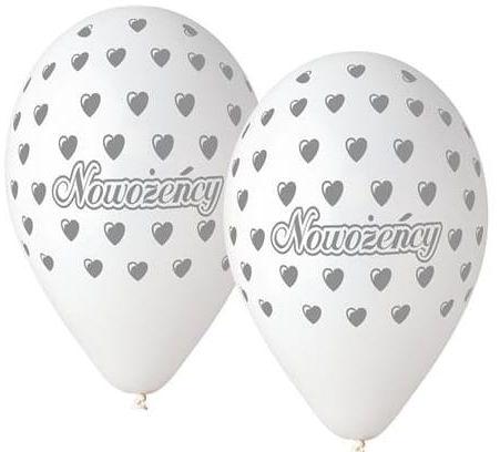 """Balony Premium 12"""" """"Nowożeńcy"""" białe"""