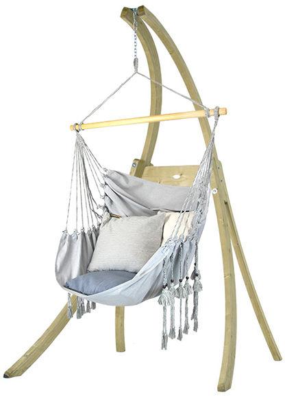 Zestaw hamakowy: fotel HCXL-CT ze stojakiem drewnianym Atlas, jasny jeans HCXL-CT-AT