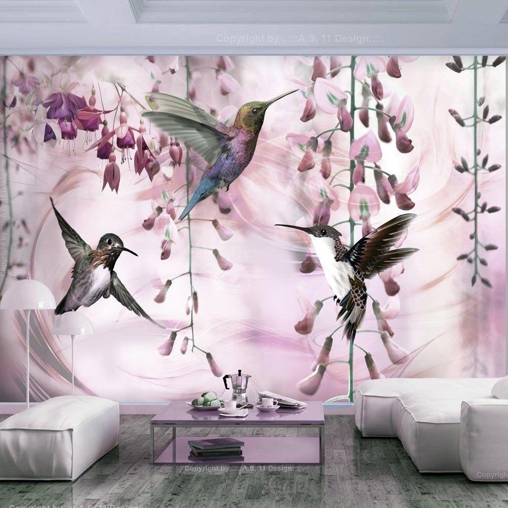 Fototapeta - latające kolibry (różowy)