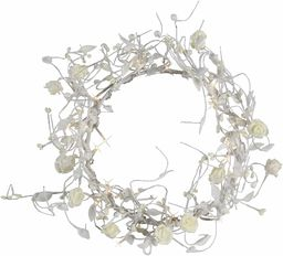Best Season Różaniec różaniec z 24 mikro bombkami około 21 x 21 cm, białe jasne żarówki z transformatorem 581-13