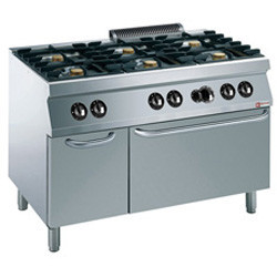 Kuchnia gazowa 6 palnikowa z piekarnikiem gaz. GN 2/1 i szafką 39000W