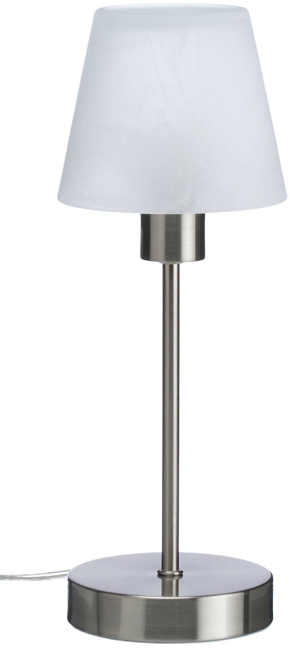Trio Leuchten Lampa stołowa Luis nikiel matowa, metal, szkło, ściemniacz dotykowy 595500106