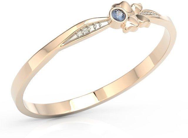 Pierścionek motylek z różowego złota z niebieską cyrkonią bp-89p-r-c