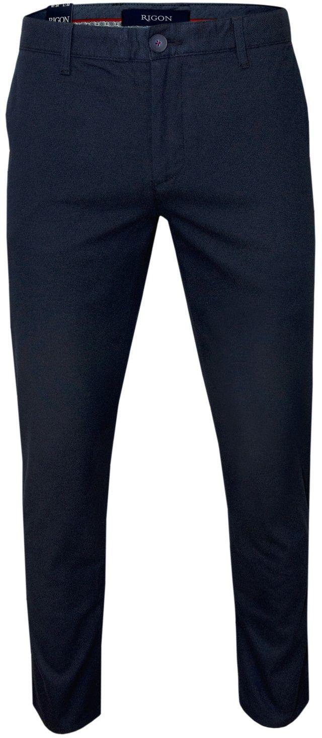 Granatowe Casualowe Męskie Spodnie -RIGON- Zwężane, Bawełniane z Lycrą, Chinosy SPRGNk904NEYMAN23532gr