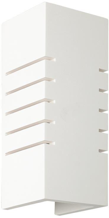 Lampex Harold 697/1 BIA kinkiet lampa ścienna biały gips podłużny kształt symetrycznie wcięcia E14 1 x 60W 9,5cm