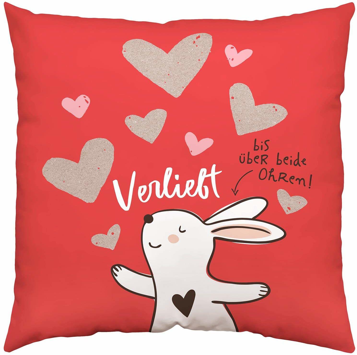 Happy Life 45336 poduszka bawełniana, z zającem, zakochana na obu uszach, 40 cm x 40 cm poduszka ozdobna, pokrowiec, wypełnienie 100% poliester, czerwono-biała