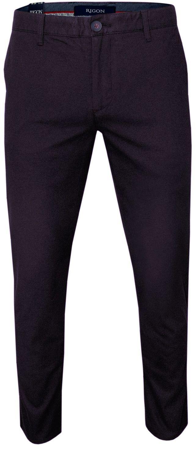 Bordowe Casualowe Męskie Spodnie -RIGON- Zwężane, Bawełniane z Lycrą, Chinosy SPRGNk793NEYMAN32662bordo