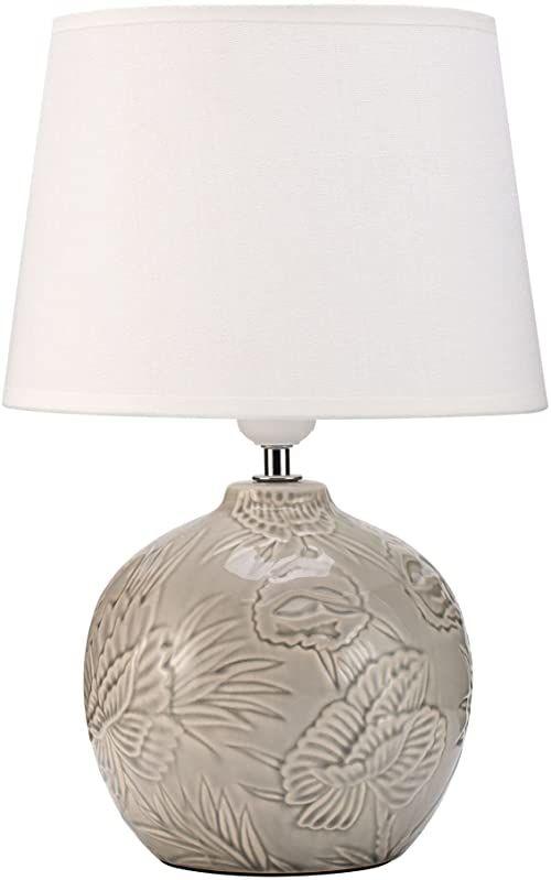 Pauleen 48216 Tender Love lampa stołowa maks. 20 watów ręcznie wykonana biała, szara lampka nocna w stylu boho z materiału, ceramika E27