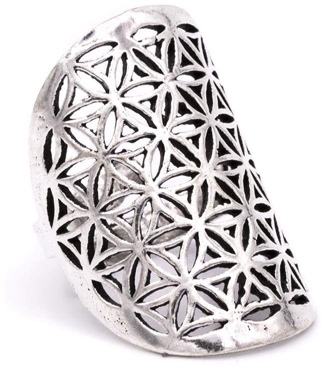 Kwiat Życia - pierścień (mosiądz - kolor srebrny)
